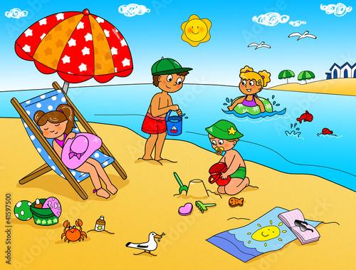 Vacanze d'estate, bambini che giocano in spiaggia.