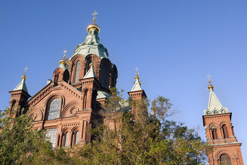 Top of Uspensky Cathedral, evening view in Helsinki, Finland