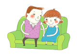 Boy and Girl sitting on sofa