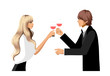 Elegant couple holding wineglass