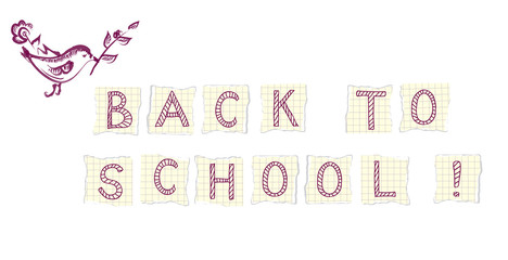 Back to school banner with bird