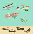 Set of Retro Airplanes in color and silhouette