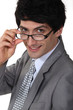 Young businessman wearing glasses