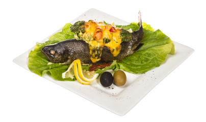 trout fish baked with shrimps and cauliflower
