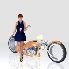 Junge Frau vor einem Motorrad