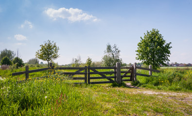 Wooden fence in a colorful rural landscape