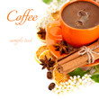 Cup of coffee and spices for your breakfast (with sample text)