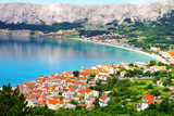 Picturesque nature sea landscape with Baska, Krk island.