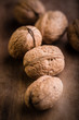 Walnuts on Wooden Background