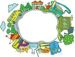 Cute school (education) speech bubble