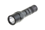 A black Dual Output LED Flashlight, isolated on white background poster