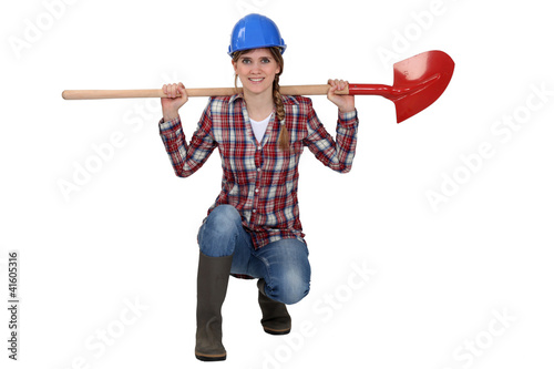 Female gardener with spade