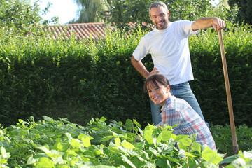 A nice couple gardening.