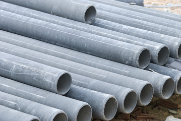 Stack concrete drainage pipe in construction site