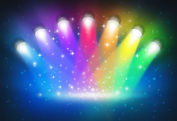 Spotlights With Rainbow Colours