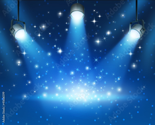 Glowing Blue Spotlights Background