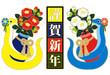 2013年巳年年賀状用イラスト素材(椿と蛇と謹賀新年・カラフル)