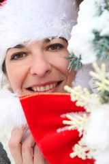 Woman getting in to the Christmas spirit