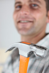 Closeup on a hammer