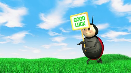 Ladybird with good luck sign