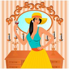 şarap içen kadın