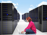 woman in datacenter poster