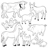 Farm animals. Vector cartoon black/white characters.