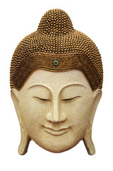 CLIPPING PART  Ancient Buddha face on white background