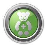 "Green 3D Style Button ""Pediatrics"""
