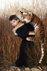 Boy with tiger