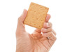 Hand with Graham Cracker on White Background