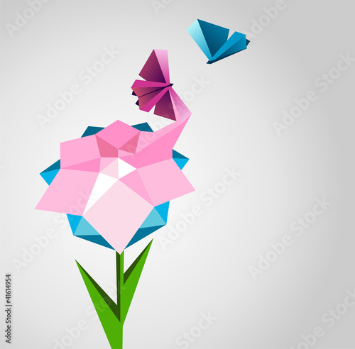 Abstract background. Flower is transformed to butterfly.