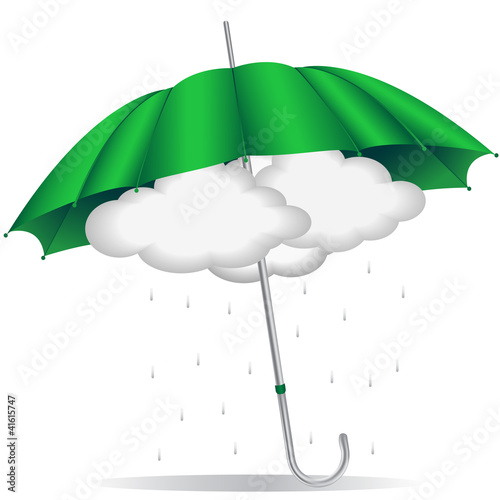green umbrella with clouds