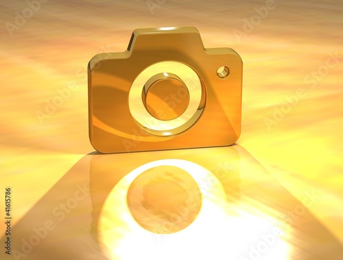 3D Photo Camera Gold Sign