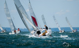 Fototapety group of yacht sailing at regatta