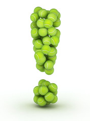 Exclamation mark, tennis balls alphabet