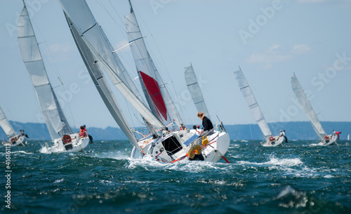 Staande foto Zeilen group of yacht sailing at regatta