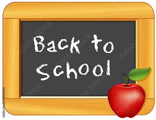 Back to School on wood frame Blackboard, Apple for the Teacher