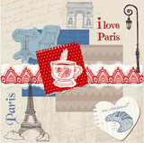 Fototapety Scrapbook Design Elements - Paris Vintage Set - in vector