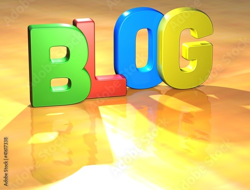 Word Blog on yellow background