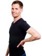 Atraktiver Mann mit Rückenschmerzen