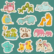 Baby and Mommy Animal Set on paper tags - for design and scrapbo