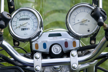 Motorcycle speedometer bord close up