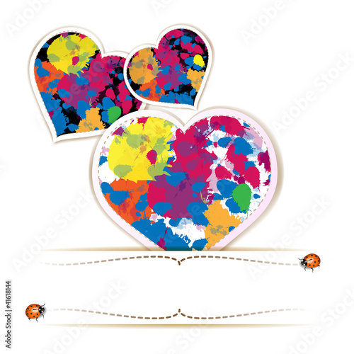 Hearts with colorful bright ink splashes