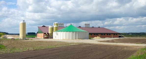 barn with silos