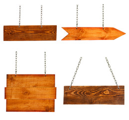 collection of blank wood sign boards