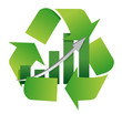 recycling symbol with a bar chart in center illustration design