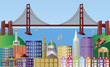 San Francisco City Skyline Panorama Illustration