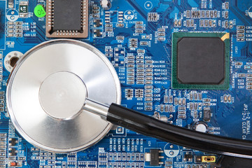 Diagnosis of motherboard panel is a stethoscope.