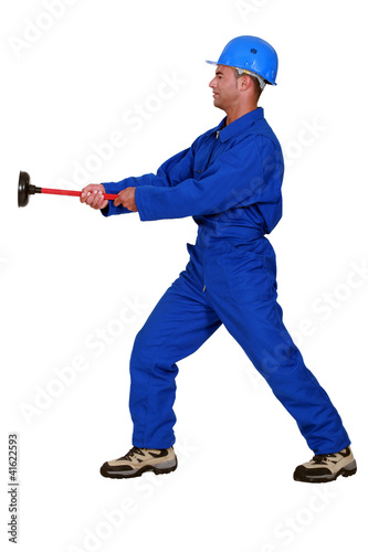 Worker with a plunger